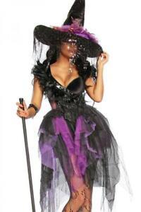Premium-Hexenkostüm Hexen-Gothic-Kostüm Komplett Set lila Kostüm Halloween Gr M