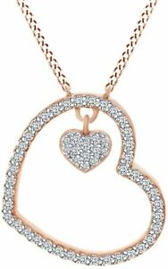 Round Simulated Diamond Open Heart s Pendant Necklace  in Sterling Silver