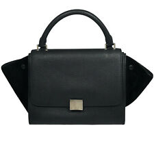 CELINE Trapeze Bag Leather Shoulder Suede Medium Handbag Black Hand Authentic