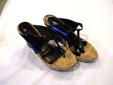 Donna Karen New York DKNY black wedge sandals/shoes cork heels, sz.36