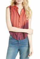 Free People Baby Blues Women's Sleeveless Buttondown Shirt Blouse Top Size XS
