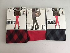 (3) HUE Women's Opaque Tights, Plaid/Solid Red/Gray/Black Size 2