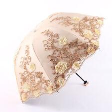 Women Anti-UV Lace Sun Rain Umbrella Embroidery Sun Parasol Folding Travel Hot