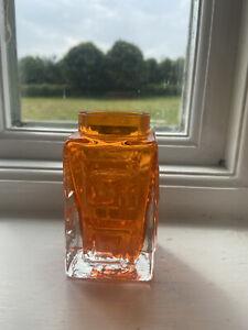 Whitefriars Vintage Tangerine Greek Key Vase