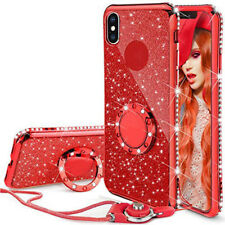 For iPhone Xs Max iPhone Xr Bling Crystal Case Soft TPU Cover With Ring &Lanyard