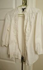 George Size L Solid White, Button up, 3/4 Sleeve Stretchy, Fitted Career Blouse