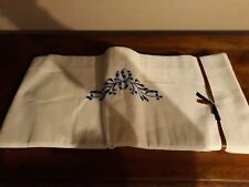 2 DRAPS Parure de lit  en Métis  brodée bleu  Neuf 280 cm x 210 cm jour venise