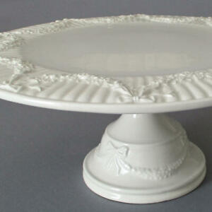 """Creamware TIFFANY & CO 14"""" Cake Stand Pedestal SWAGS of ROSES + BOWS * GARLAND"""