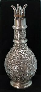 Japanese Sterling Silver & Clear Glass Overlay Decanter/Condiment Bottle C. 1900