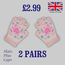 Girls Pink Magic Gloves Kids Gripper Warm Winter Childrens Stretch ( 2 PAIRS )