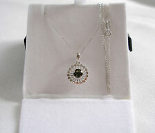 FPJ-  .42 Ct. Moldavite Solitaire  14k White Gold Pendant & Necklace