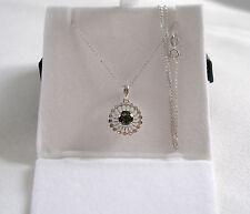 FPJ-  .42 Ct. Moldavite Solitaire  14k White Gold Pendant & Necklace