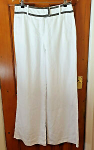 Next Size 12R White Linen Smart Evening Holiday Trousers