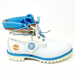 Timberland Mens 6 Inch Premium Boots Roll Top Size 10.5 White Blue 83076
