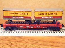 LIONEL UNION PACIFIC FLATCAR w/ 2 UP PIGGYBACK TRAILERS #26691 O GAUGE
