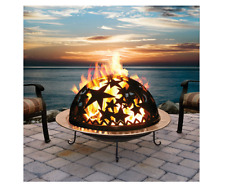 Fire Pit Starry Nite Decorative Wood Burning Fire Dome in Black Steel