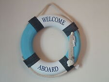 Large Lifebuoy 47 cm across Welcome Aboard Blue White/Ship Boat-Life Ring
