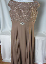 Manhattan Bridal Formal Gown 16 P Mother of Bride Lace Chiffon Lt Brown Pearls