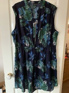 LADIES BLUE MULTI PATTERNED ZIP FRONT DRESS UK SIZE 24 GREAT CONDITION