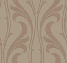 Wallpaper Designer Large Metallic Copper Wavy Deco Raised Ink Stripe on Gray