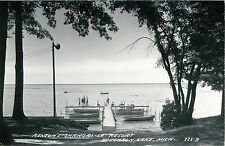 A View of Benton's Shangri-La Resort, Houghton Lake MI RPPC 1955