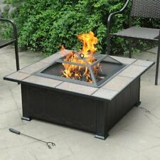 "34"" Square Tile Table Top Wood Burning Fire Pit Backyard Patio Antique Bronze"