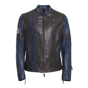 BLAUER USA Herren Lederjacke Bikerjacke Dunkel  schwarz-blau 3XL
