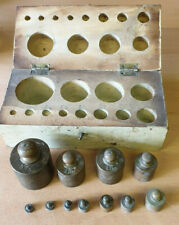 Vintage Laboratory Apothecary Chemist Brass Weights in box (stk299)