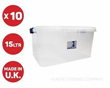 10x 15 LITRE PLASTIC STORAGE BOX! TOYS SHOES -CLEAR BOX WITH CLIPS - PACK OF 10!