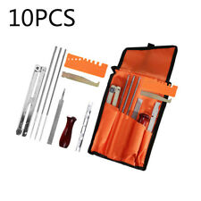 10pcs Chainsaw Chain Sharpening Kit Tool Set Guide Bar File Sharpener practical