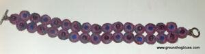 "Pretty Artist Made Crocheted Beaded Bracelet 8"" Purples"