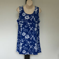 'AUTOGRAPH' BNWT SIZE '14' BLUE & WHITE FLORAL SLEEVELESS SCOOP POCKET TOP
