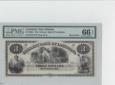 $3 1860's Remainder Note The Citizens' Bank Of Louiiana PMG Certified 66 EPQ