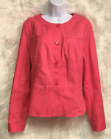 TALBOTS Women's Collarless Jacket Coral Buttons L/S Stretch Sz 12 - NWOT