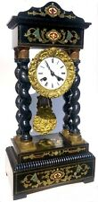 Antique Boulle Style Inlaid Portico Clock With Barley Twist Colums Ebonised