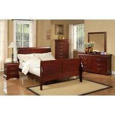 Alpine Furniture 2700F Louis Philippe Ii Full Size Sleigh Bed Cherry Finish  New