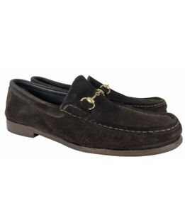 GUCCI Burnished Brown Suede Leather Horsebit Loafers UK 12 | EUR 46 E | US 13