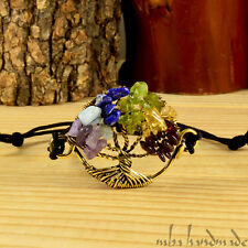 WOMEN'S PERIDOT GARNET AMETHYST CITRINE NATURAL GEMSTONE TREE OF LIFE BRACELET