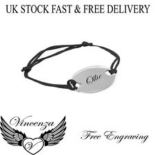 Personalised Mens Womens Engraved Name Black Lace Charm Solid Bracelet Vincenza