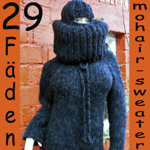 Mohair Catsuit Grobstrick schwarz Pullover Sweater Balaclava Overall L / XL