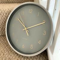 Vintage Home Kitchen Plastic & Glass Pastel Grey Quartz Round Wall Clock 25cm