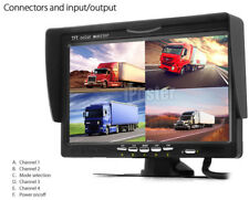 "4 Channel 7"" 4 Split Quad Screen 800X480 Display Monitor For Reversing Camera"