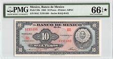 Mexico 1965 P-58k PMG Gem UNC 66 EPQ* 10 Pesos