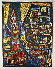 Erich Kaatz 1909 - Wiesbaden / Abstrakte Stadtansicht / Gemälde von 1963
