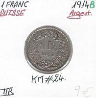 SUISSE - 1 FRANC - 1914 B - Pièce de Monnaie en Argent // Qualité: TTB