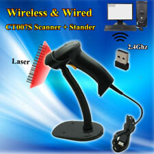 Free Holder+New Alanda CT007S 2.4Ghz Wireless/Wired Laser Barcode Scanner Reader