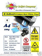 A4 MATT WHITE WATER RESISTANT SELF ADHESIVE INKJET STICKER LABEL VINYL  6 SHEETS