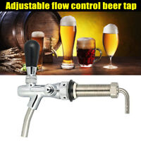 Beer Tap Faucet Adjustable G5/8 Long Shank Chrome Plating Anti-rust Flow Control