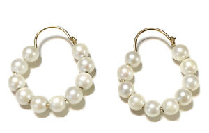 Fine 14k Yellow Gold Cultured Pearl Earrings Hoop Earrings