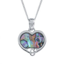 Lucky Paua Shell Celtic Heart Pendant Necklace - Genuine Paua Shell Jewellery